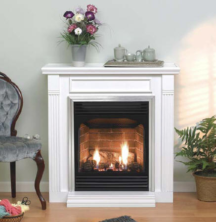 Wood-mantel-ventless-gas-log